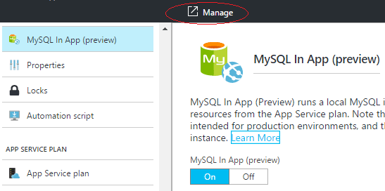 Manage MySQL in the Azure Portal